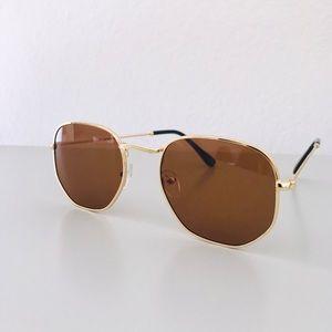 Retro Square Gold Metal Frame Sunglasses